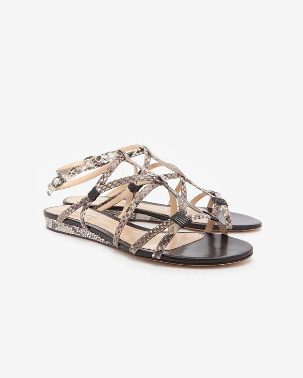 Alexandre Birman Strappy Python Flat Sandal