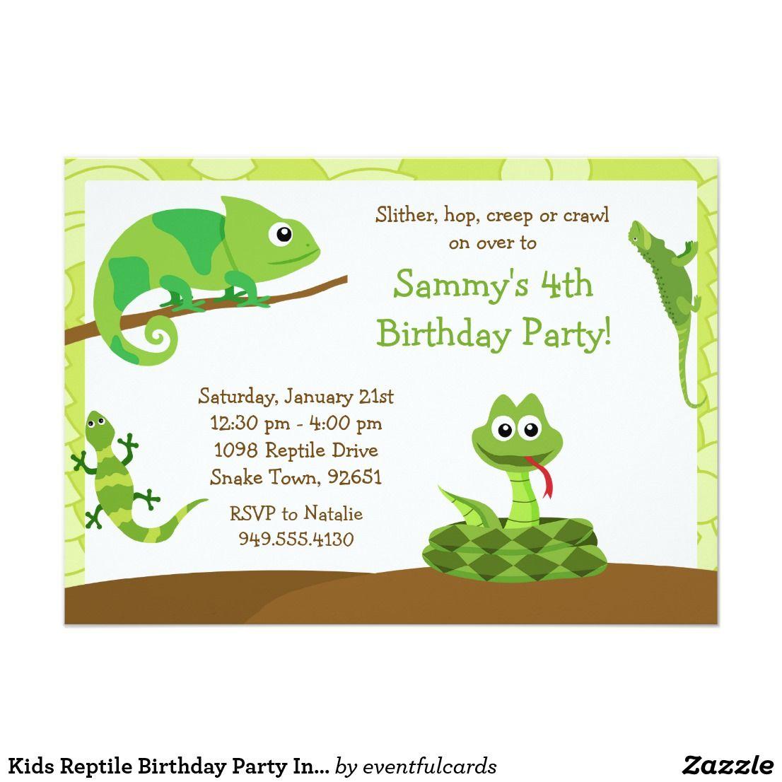 Kids Reptile Birthday Party Invitation | Josiah\'s 5th Birthday ideas ...