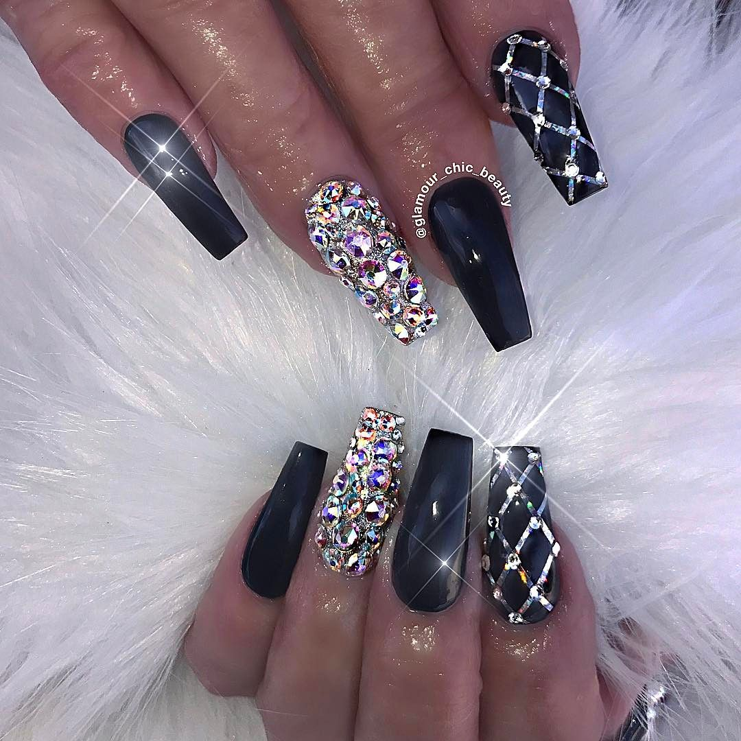 Coffin Black Nails with Bling