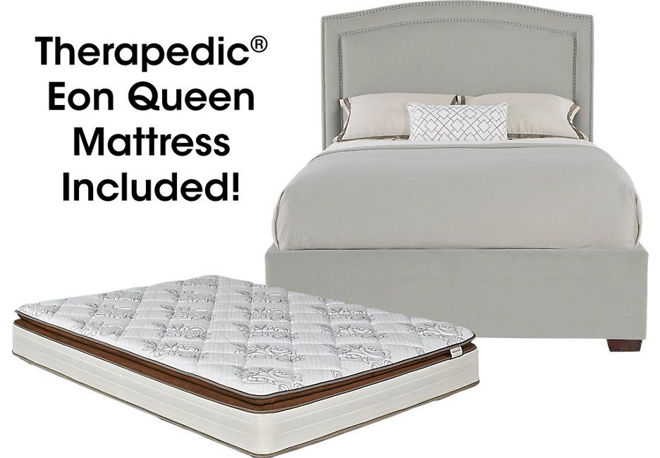 Loden Gray 5 Pc Upholstered Queen Bed And Mattress Set 599 0 Queen Bed 92l X 70 5w X 60h Mattress 10 75h Fin Queen Upholstered Bed Mattress Sets Mattress Queen bed with mattress included