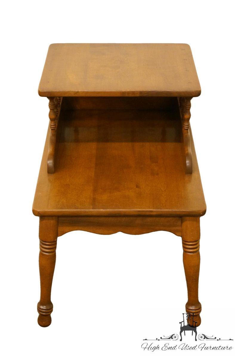 Ethan Allen Used Furniture >> Ethan Allen Heirloom Nutmeg Maple 18 Step End Lamp Table 20 8382