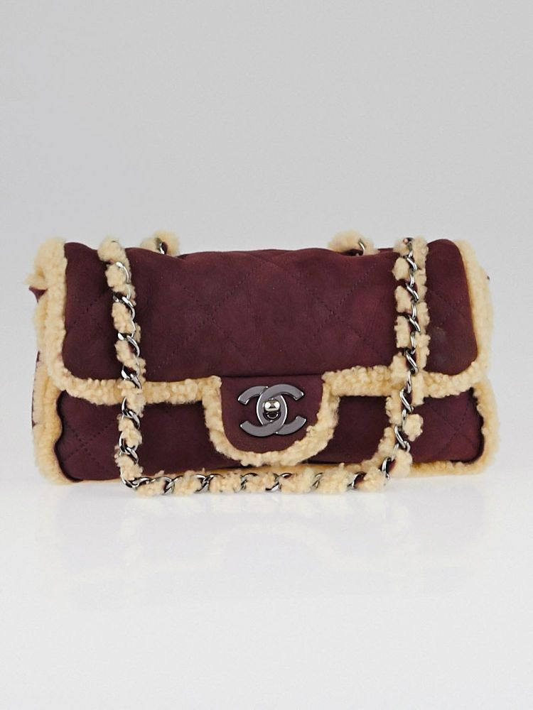 Chanel Purple Quilted Suede And Shearling Small Flap Bag Chanel Bag Used Chanel Bags Women Handbags