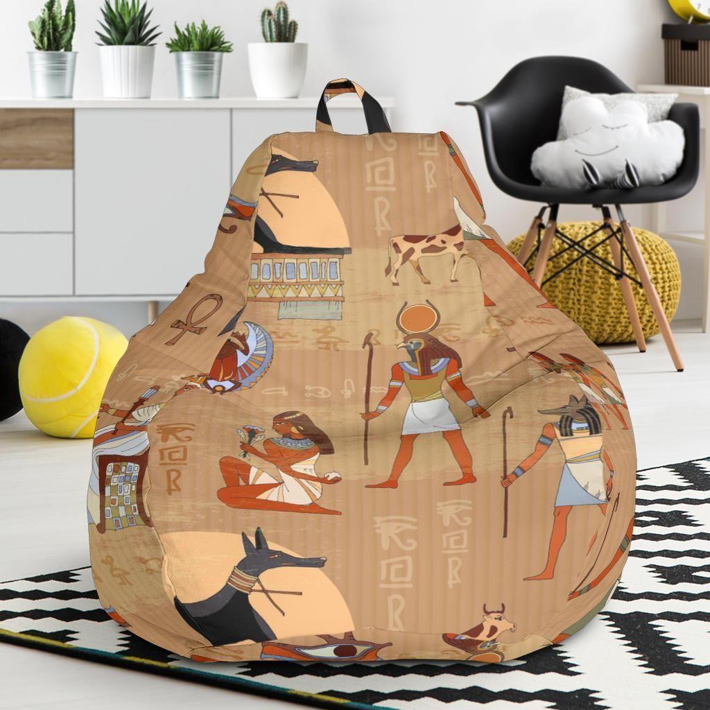 Egyptian Pattern Print Bean Bag Chair in 2020   Bean bag ...