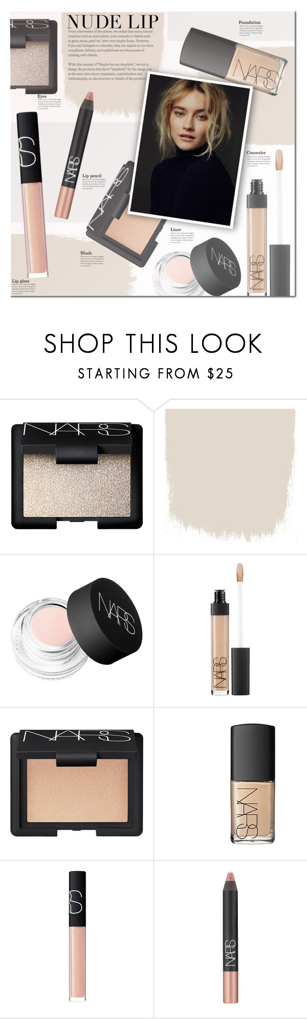 """""""The Perfect Nude Lip"""" by anna-anica ❤ liked on Polyvore featuring beauty, NARS Cosmetics, Beauty and nudelip"""