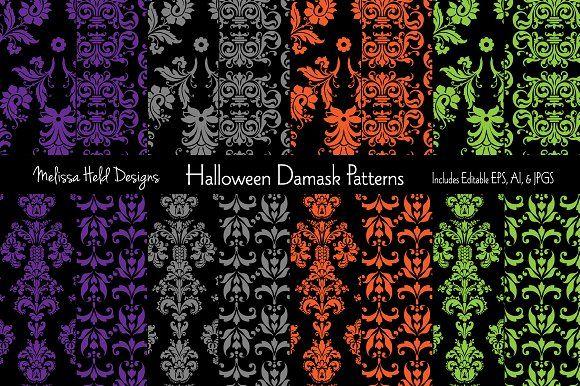 Halloween Damask Patterns by Melissa Held Designs on @creativemarket