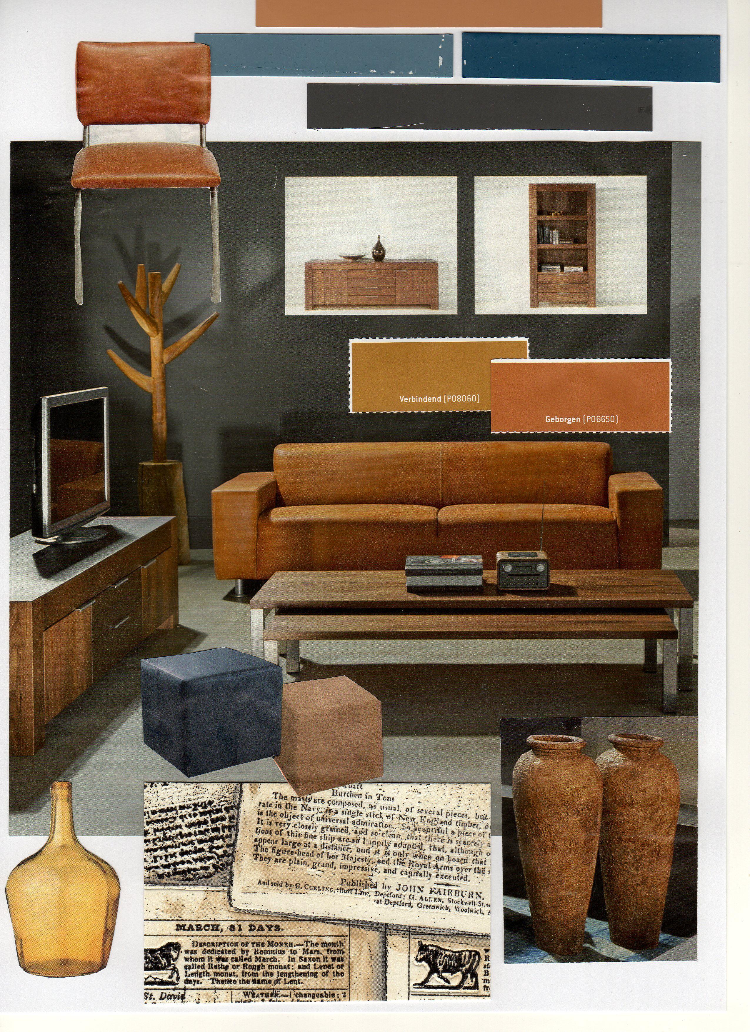 Cognac met grijs en donkerblauw  woonkamer grijstint