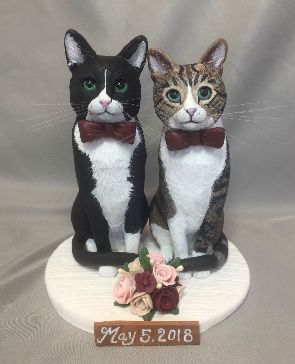 Tabby and Tuxedo cat wedding cake topper. Hand sculpted