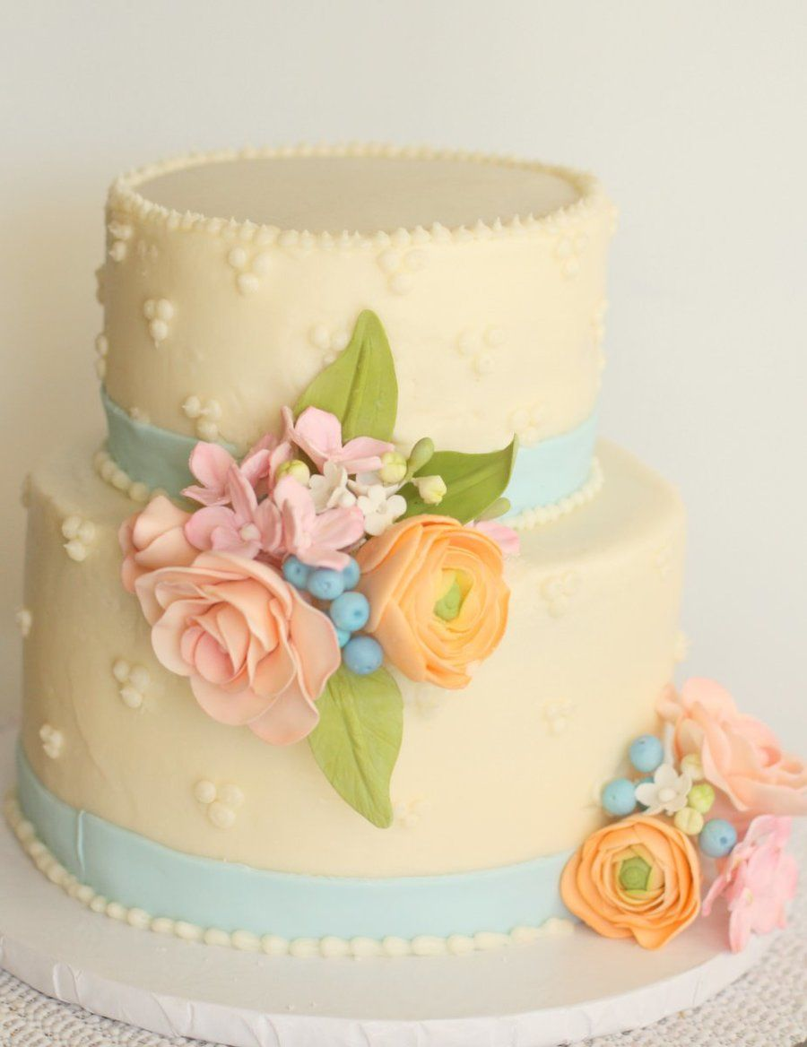 Spring Flowers Cake For An 80th Birthday Gumpaste Flowers On