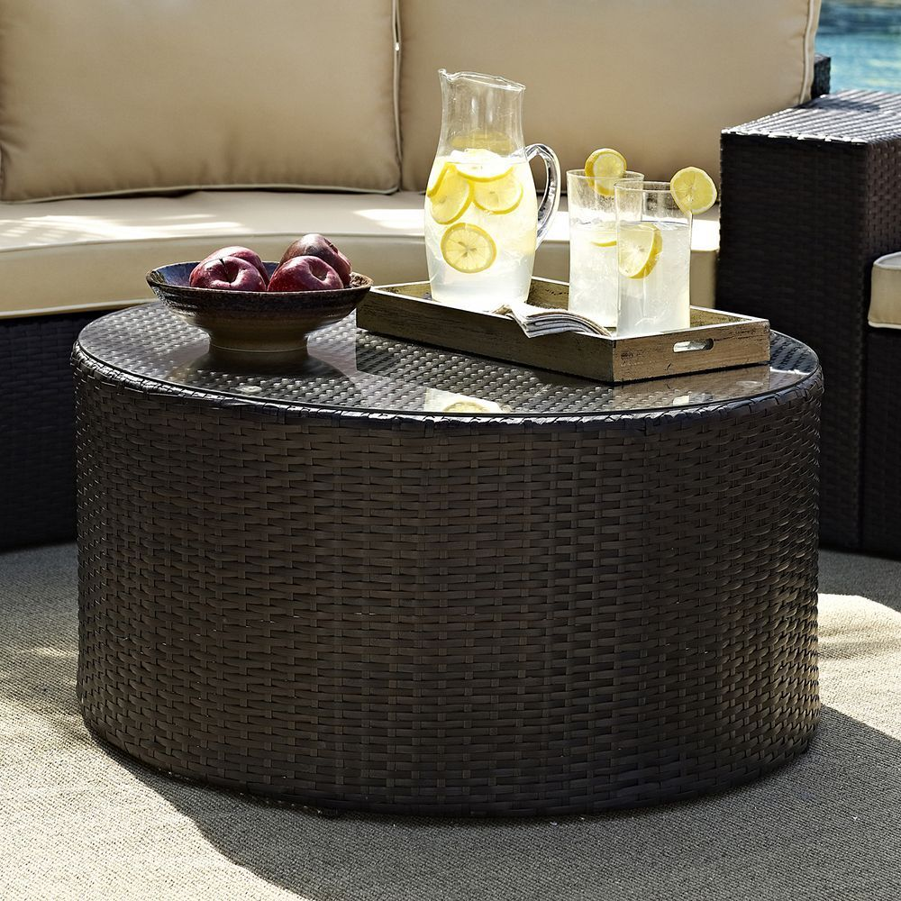 Catalina Outdoor Wicker Round Gl Top Coffee Table