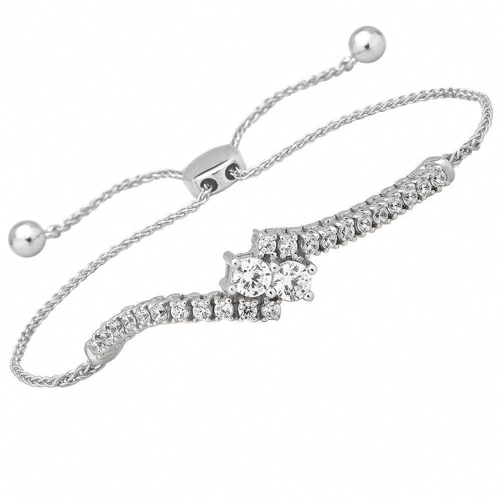 1 Carat 14k Diamond White Gold 2 Stone Forever Us Tennis Bolo Adj 9 Bracelet Caratsforyou Sparkly Bracelets Tennis Bracelet Diamond Jewelry Bracelets Gold