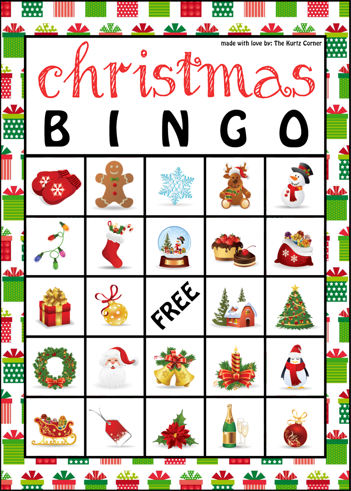 picture relating to Christmas Bingo Card Printable named The Kurtz Corner: Absolutely free Printable Xmas BINGO Playing cards