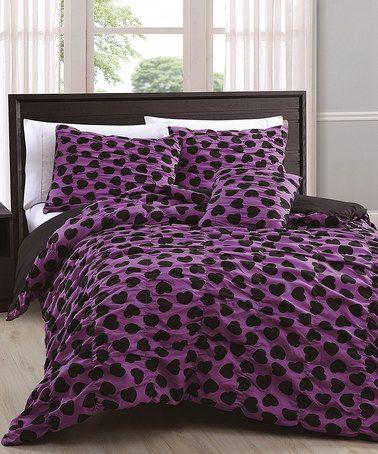 Look at this #zulilyfind! Purple & Black Mandy Hearts Reversible Comforter Set #zulilyfinds
