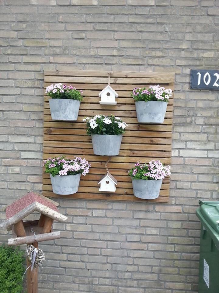 Gezien op facebook houten tuintegel aan de muur bevestigd en daar plantenbakjes en vogelhuisjes - Grijze muur deco ...