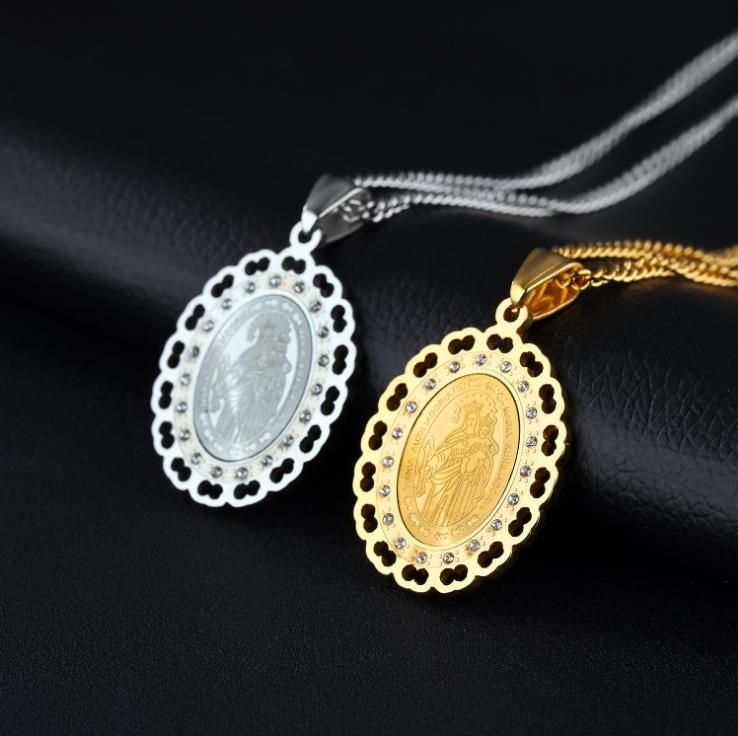 Virgin Mary Christian Men and Women Amulet Oval Hollow Necklace