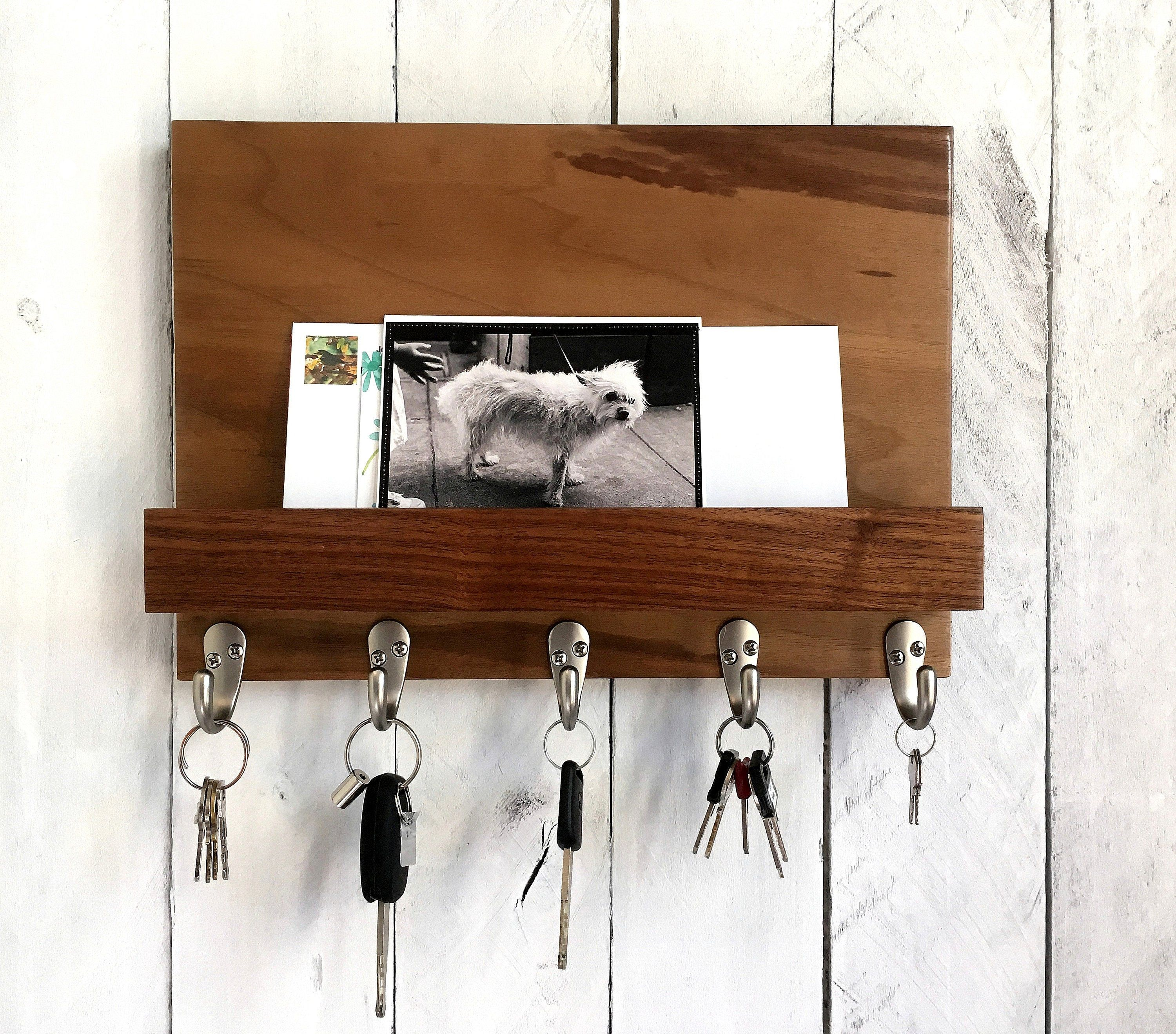 Walnut Key Rack For Wall Modern Entryway Organizer Key Mail And Key Holder Key Hanger Key Storage