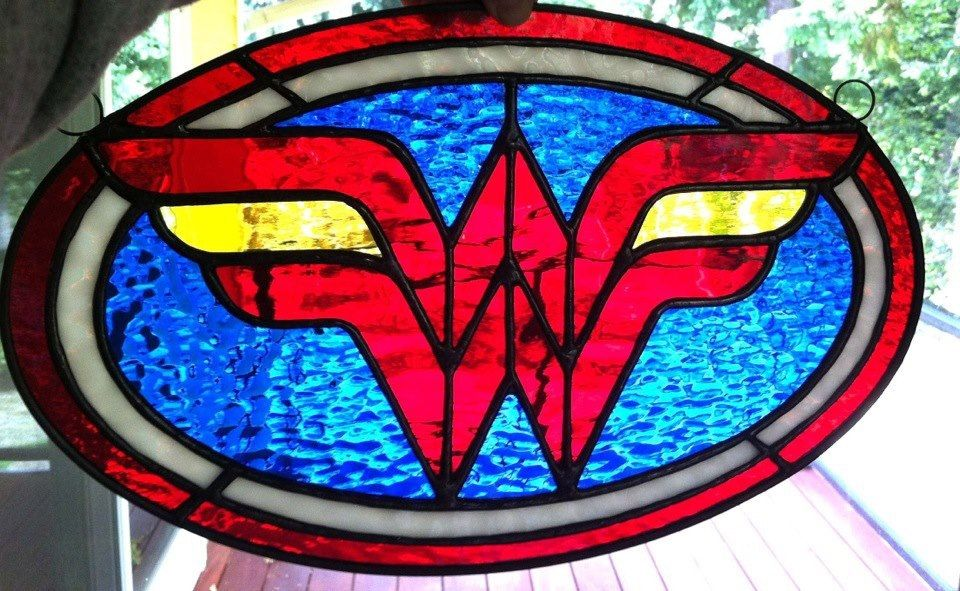 Wonder Woman  Stained Glass Sun Catcher by OofdaGlass on Etsy, $75.00