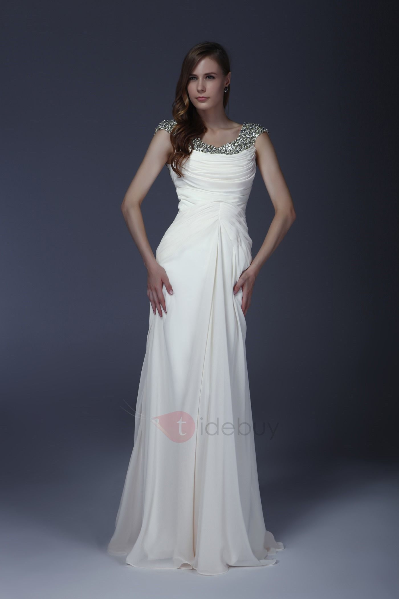 Delicated sequins column sweep train alicjaus long evening dress