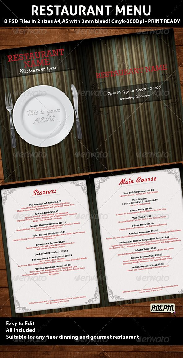 Elegant Restaurant Menu PSD Template Psd templates, Food menu - food menu template