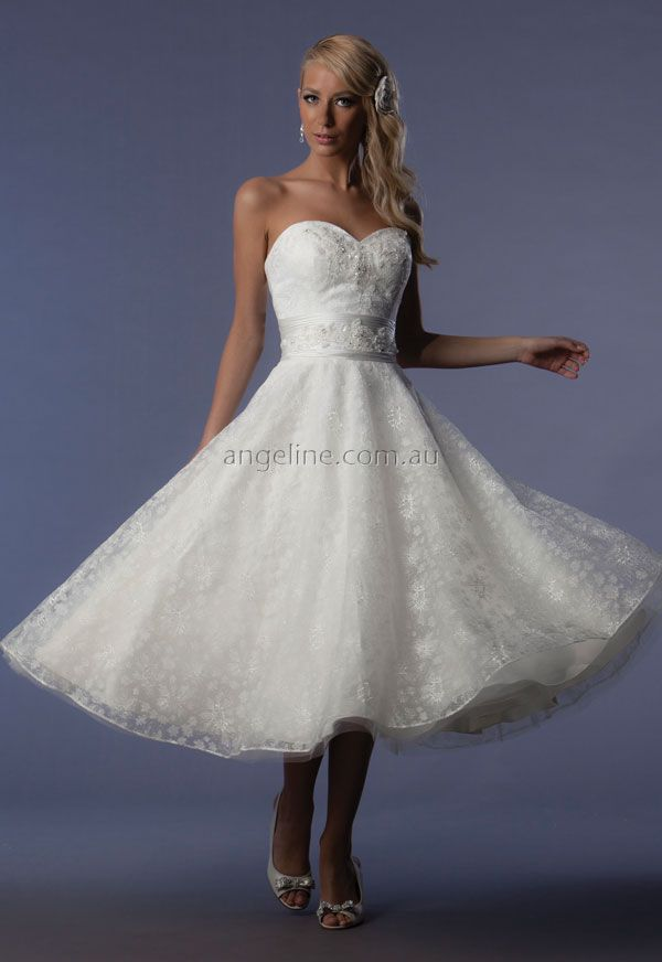 Trainless Wedding Dress By Angeline Dresses Bride Gown Gowns White Details Short