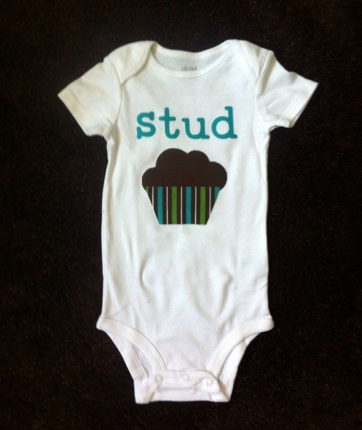 Stud Muffin Appliqued Onesie, a unique and funny shirt for your baby boy