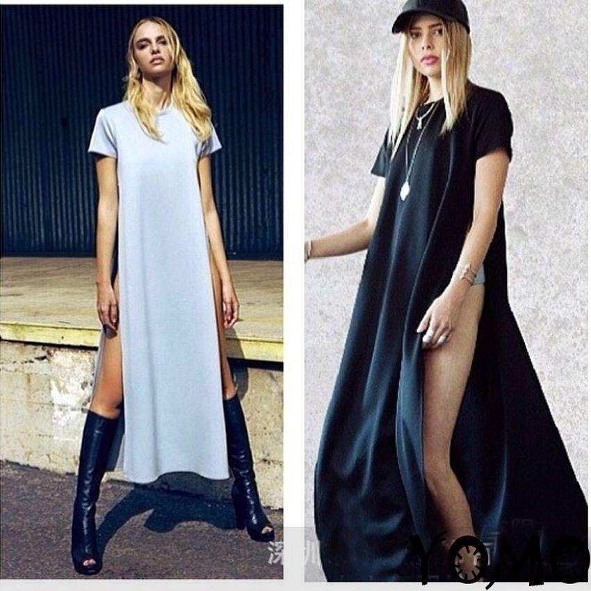 e46c2278584 Women Sexy Casual Side High Slits Tee Long Top Maxi Dress T-shirt Tops  Blouse  Newbrand  Blouson  Casual