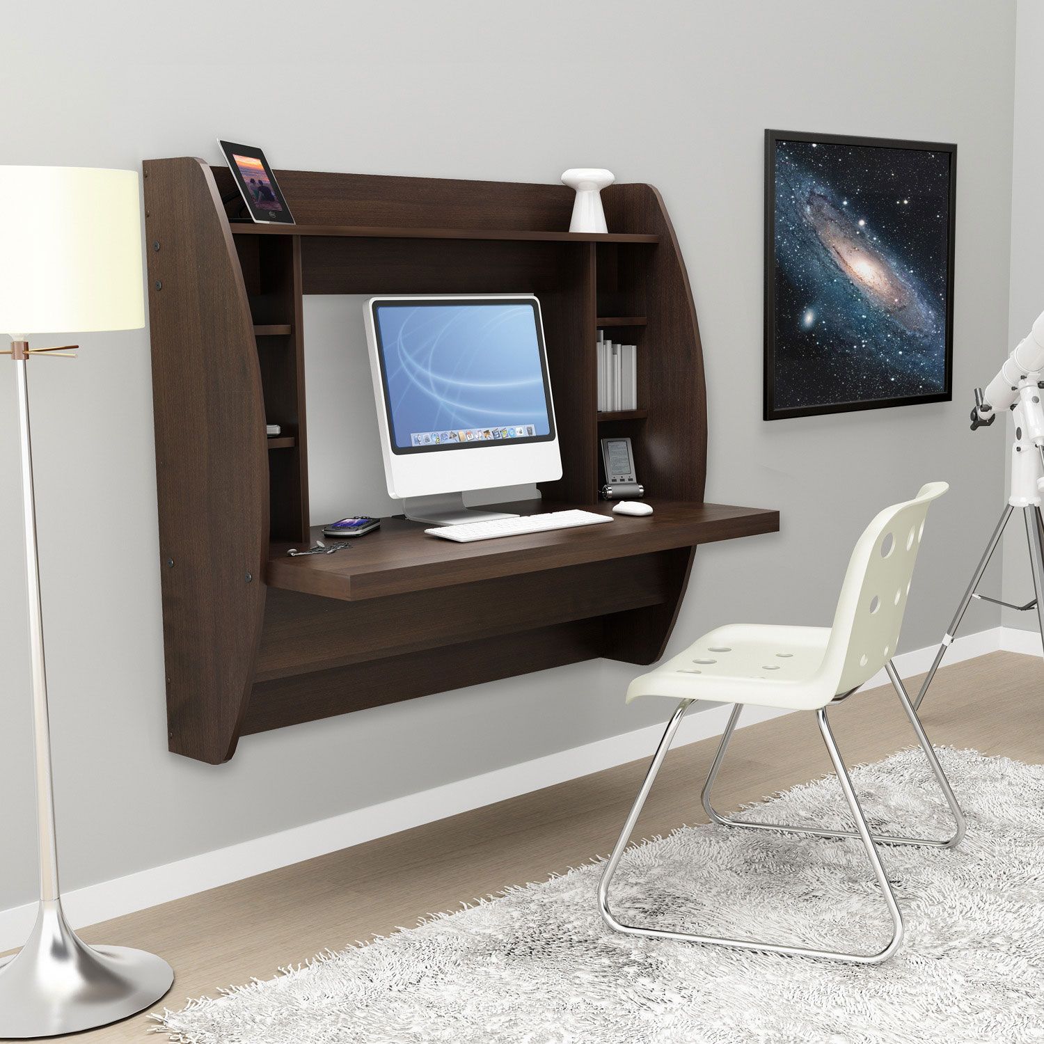 Espresso Floating Desk With Storage Floating Desk Small Spaces Home