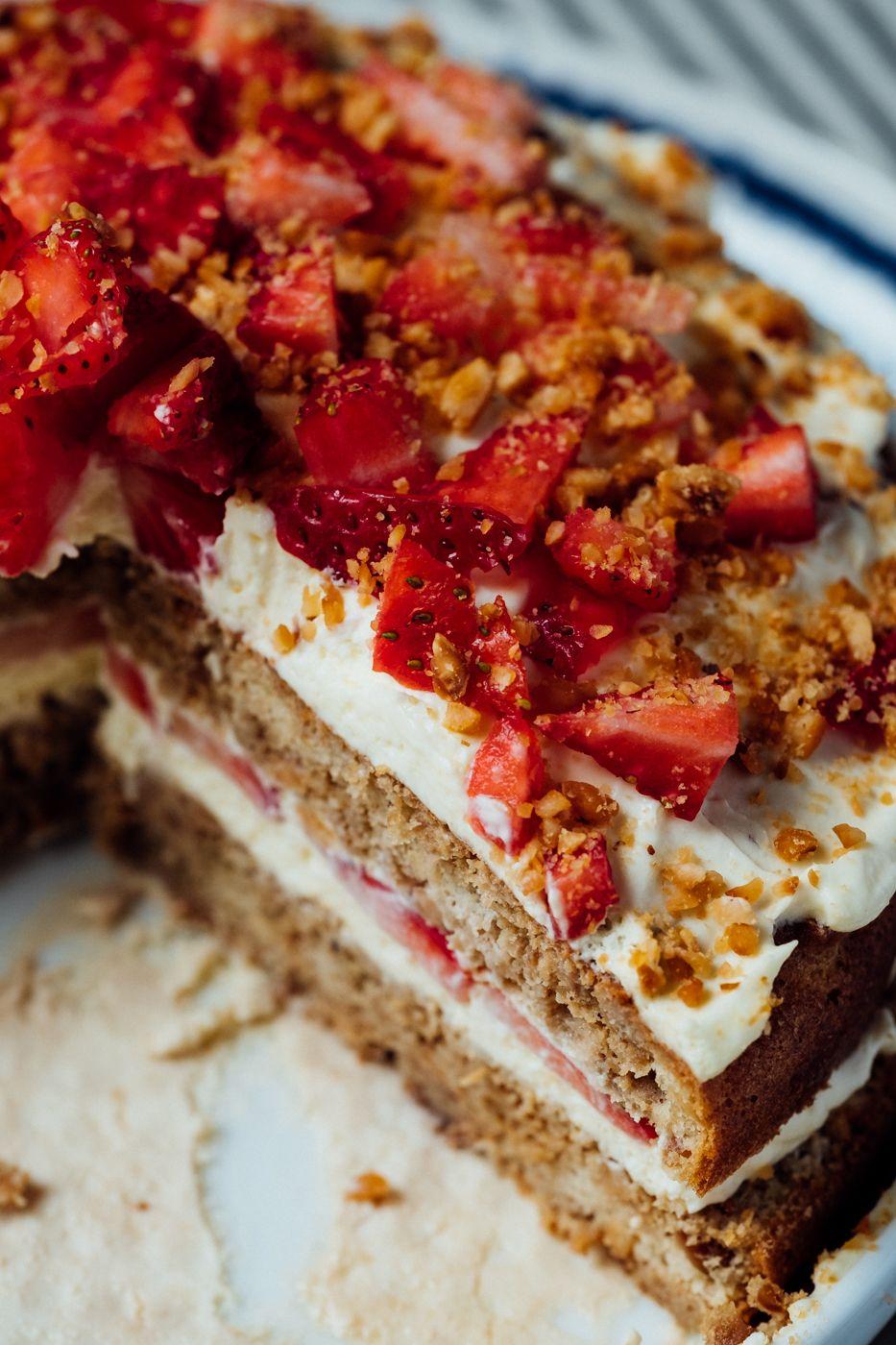 Almond hazelnut birthday cake with mascarpone cream