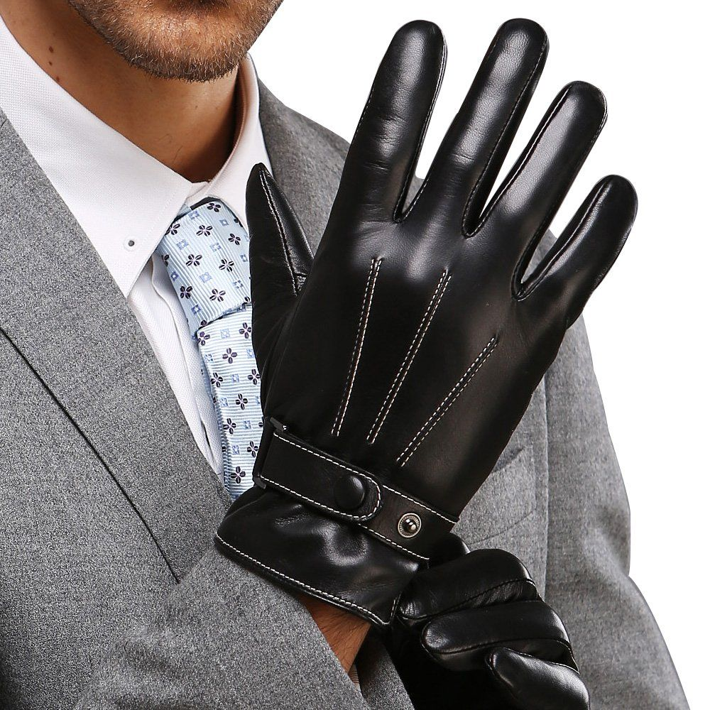 Motorcycle leather gloves amazon - Best Winter Mens Leather Gloves Made Of Australia Lambskin Touch Screen Texting Drive