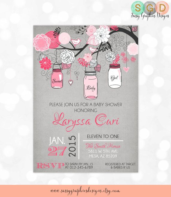 Mason Jars Girl Baby Shower Invitation Baby Girl Invite Pink Gray