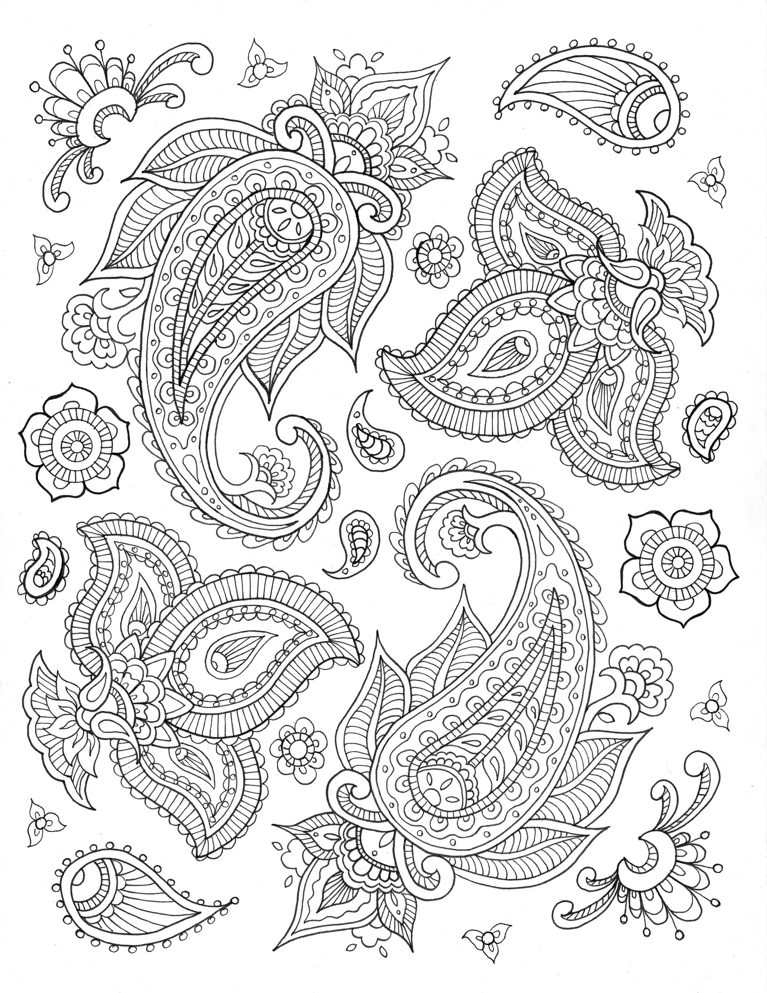 eHow.com : free printable coloring pages by Sarah Hamilton : Paisley ...