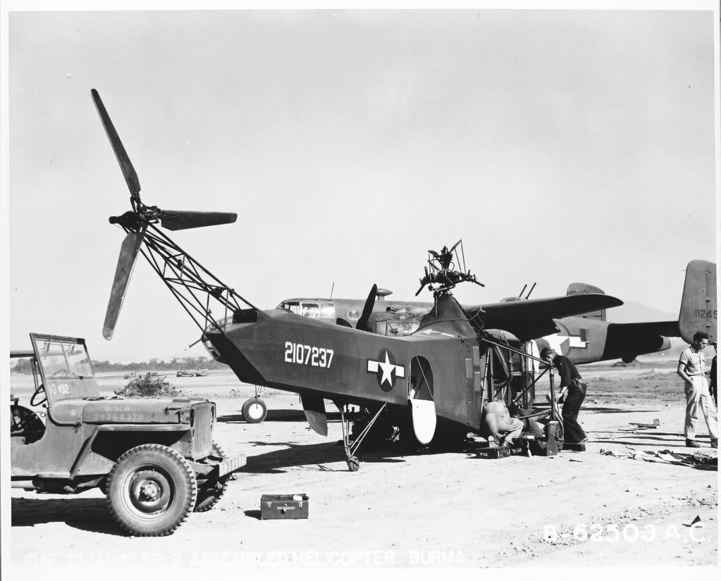Sikorsky YR-4B (first helicopter to be used by the USAF) # 42-107237. It crashed in Burma July 29, 1945. In the background of the first photo, a North American B-25C Mitchell. The second, in bad shape, a North American B-25J-1-NC Mitchell's 341st BG 11th BS.