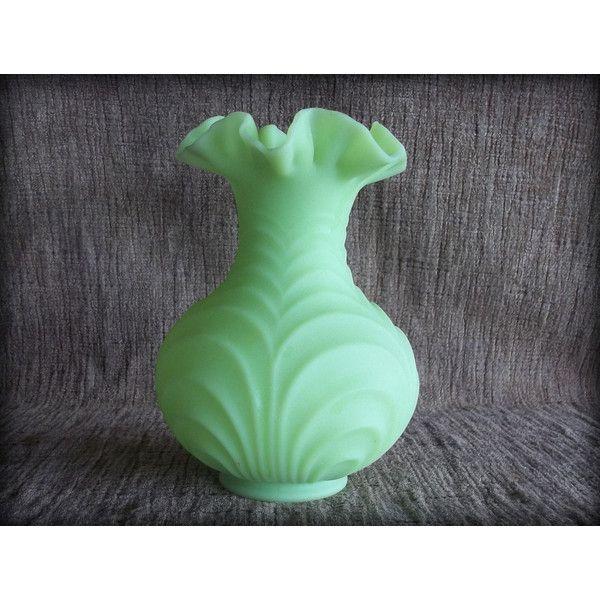 Fenton Green Glass Flower Vase Vaseline Glass Ruffled Lip Drapery