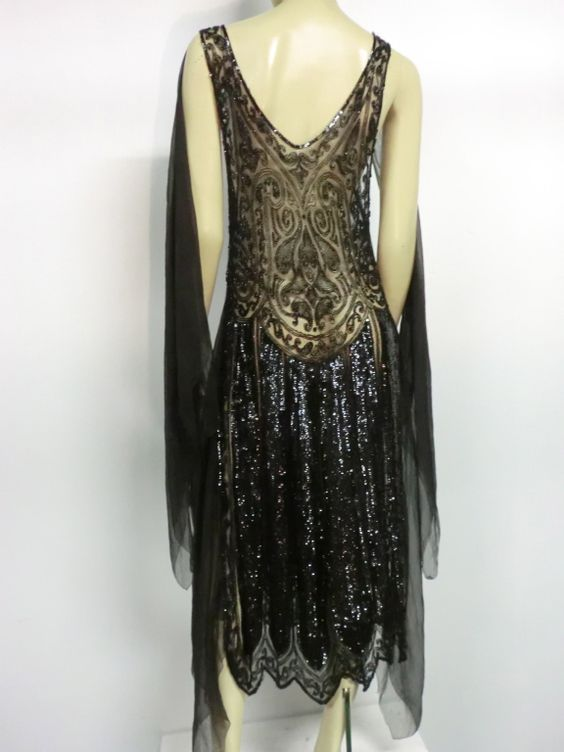 1920 evening gowns | Divine French 1920s Silk Chiffon Beaded ...