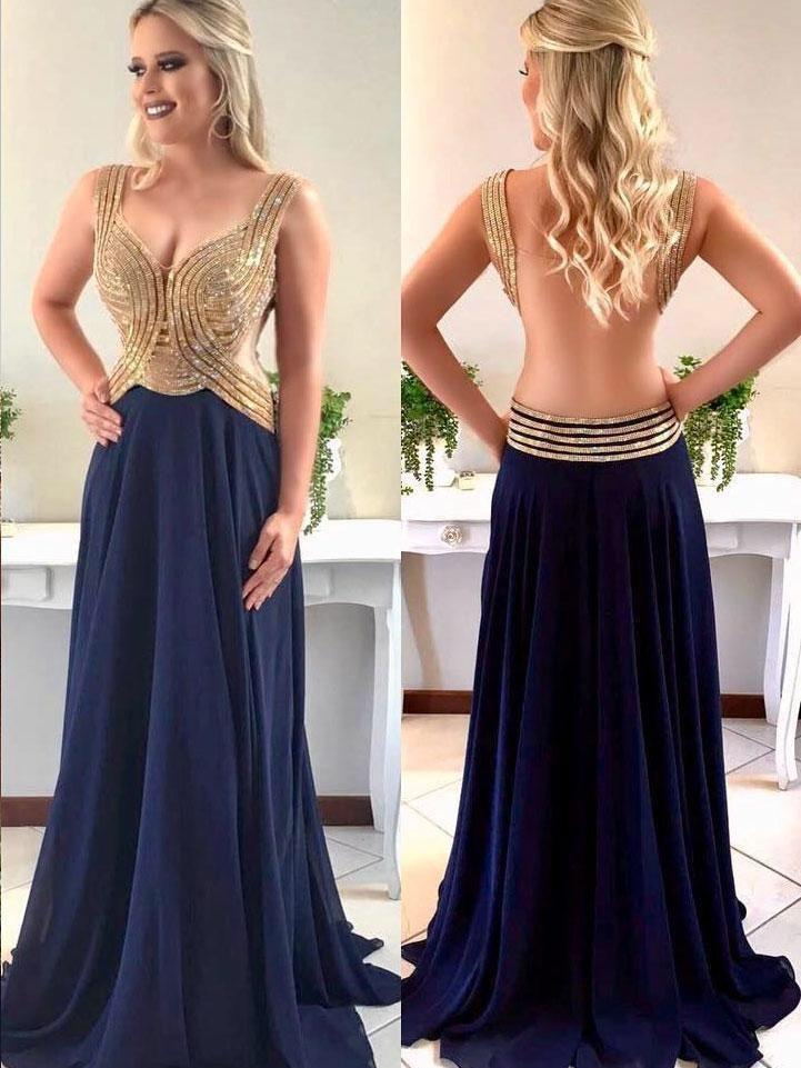 Sparkly Prom Dresses Aline Straps V-neck Long Chiffon Open ...