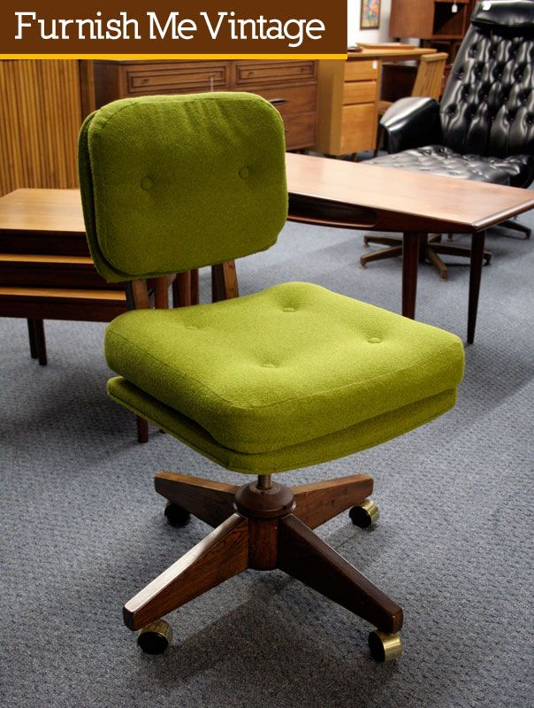 Vintage Mid Century Modern Olive Green Swivel Office Chair