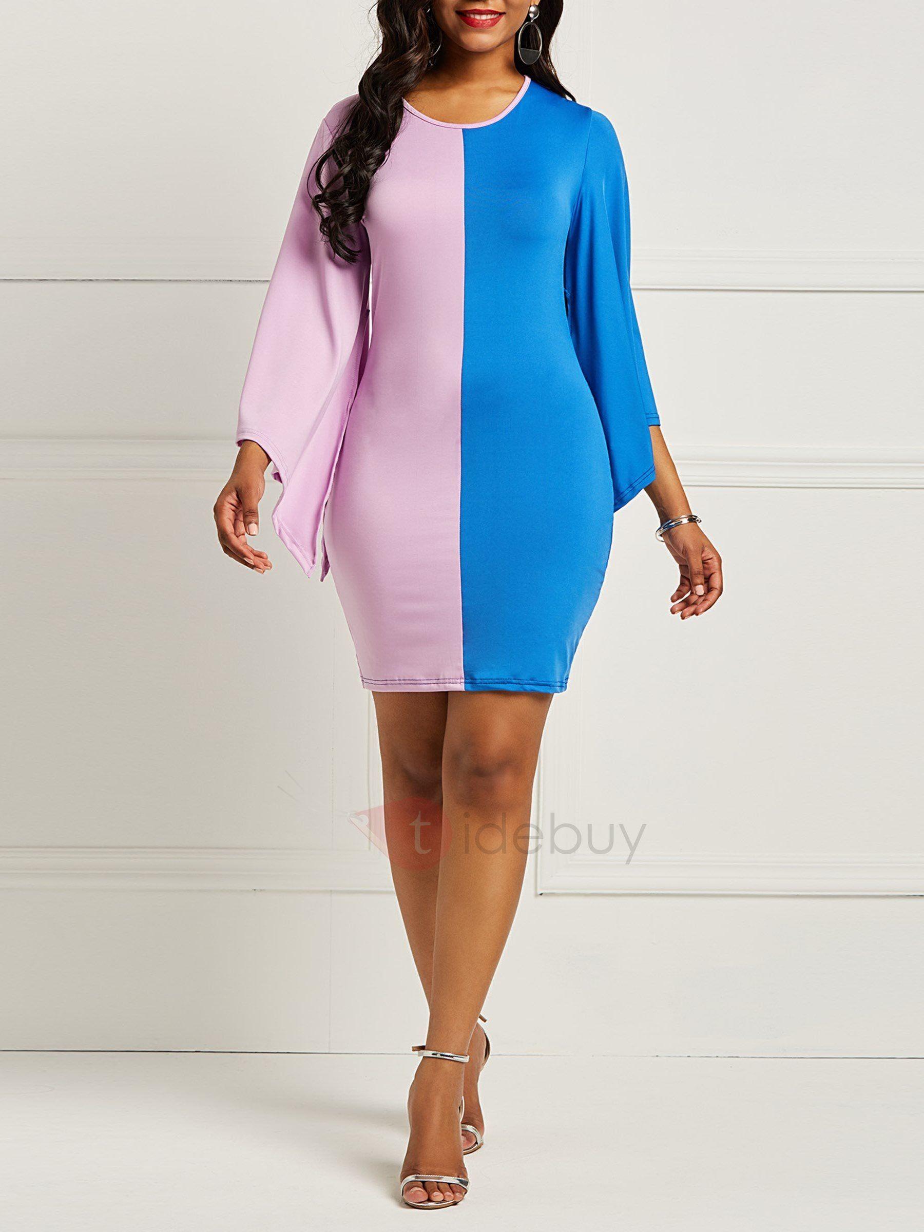 1a6d30ea400 Color Block Pencil Sexy Women s Bodycon Dress
