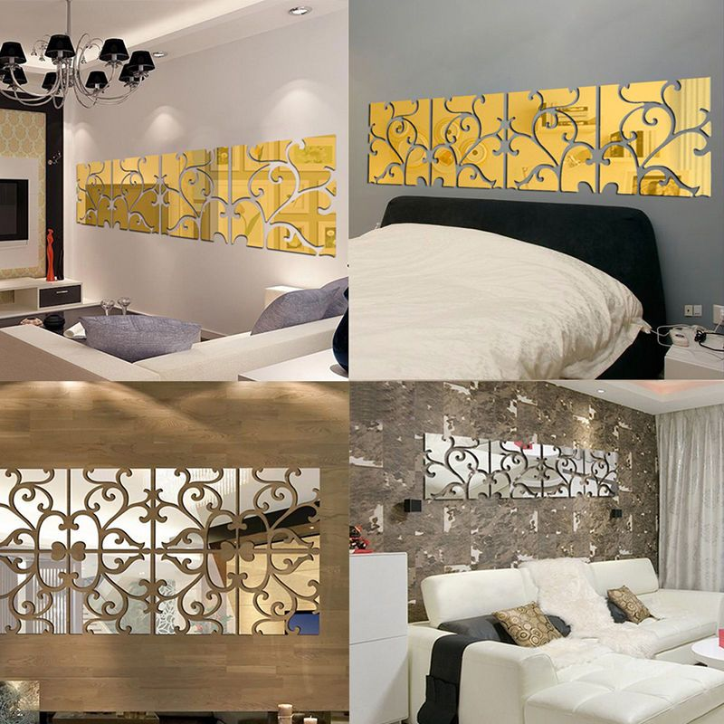 2pcs 3D Mirror Wall Stickers Acrylic Mural DIY Removable Decal Home Wall Decors