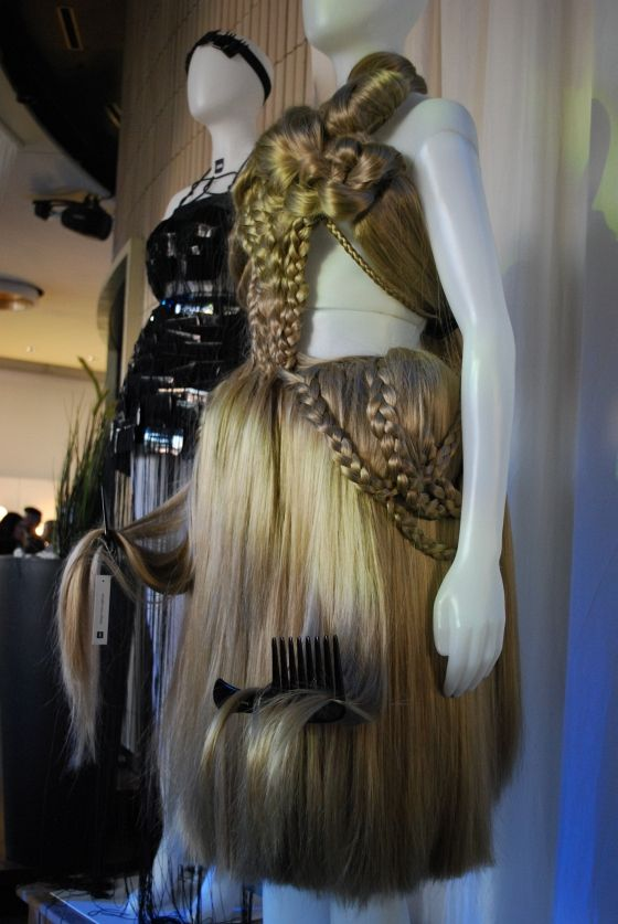 Hair dress made by design students shown at Lavera Showfloor, Berlin Fashion Week.