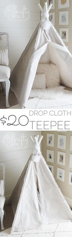 DIY 4-Sided Drop Cloth TeePee for $20