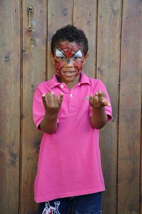 Eigen werk; facepaint spiderman