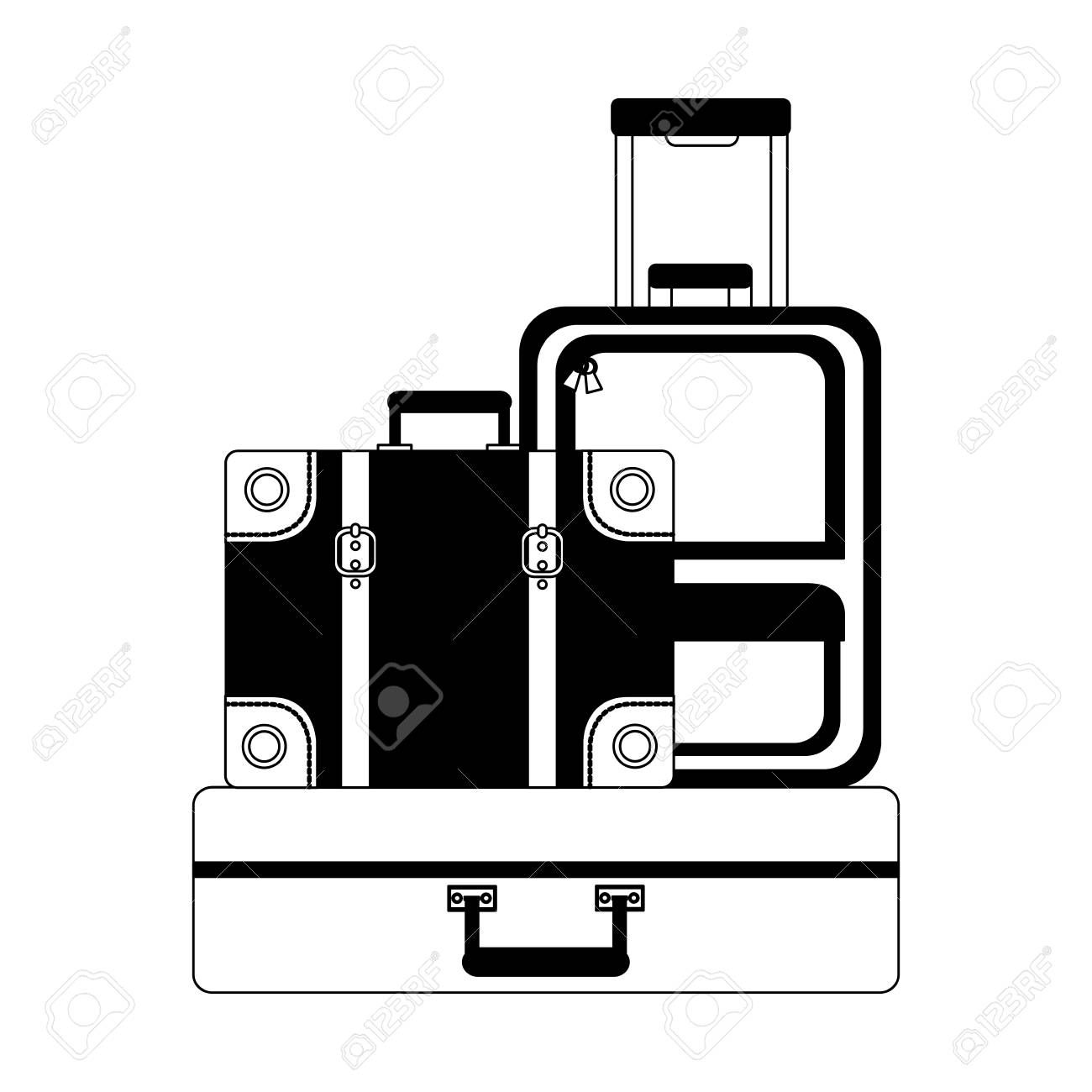 set suitcases travel tourism icon vector illustration design ,