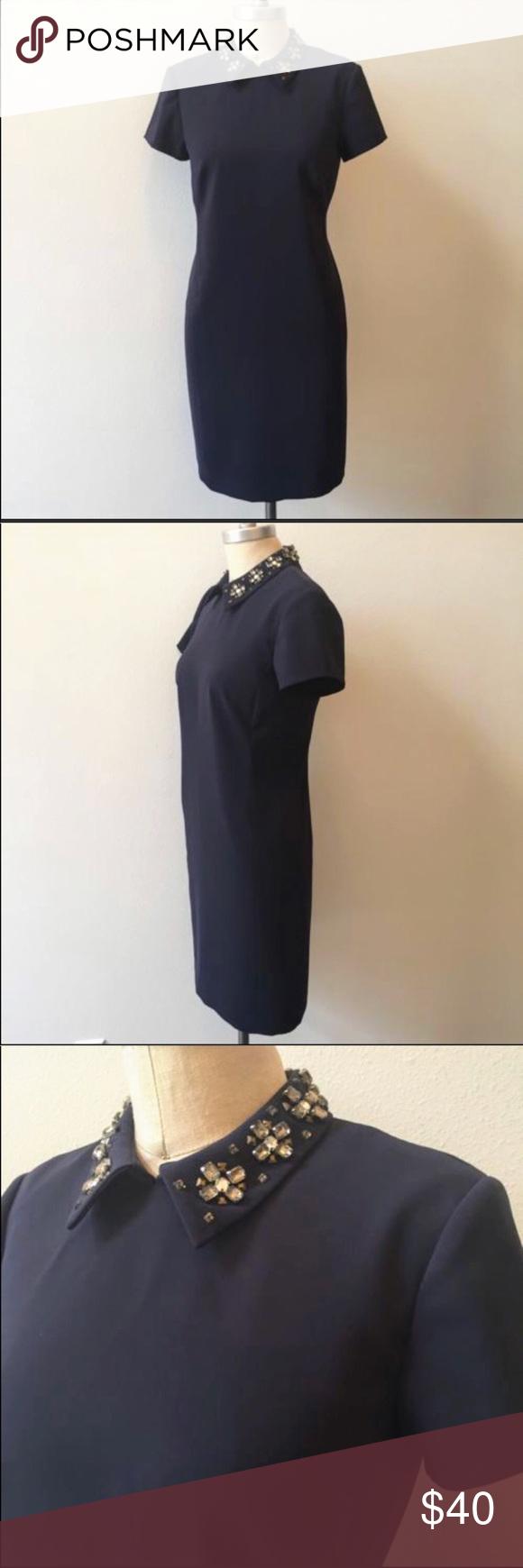 Anne taylor midi navy blue dress nwt