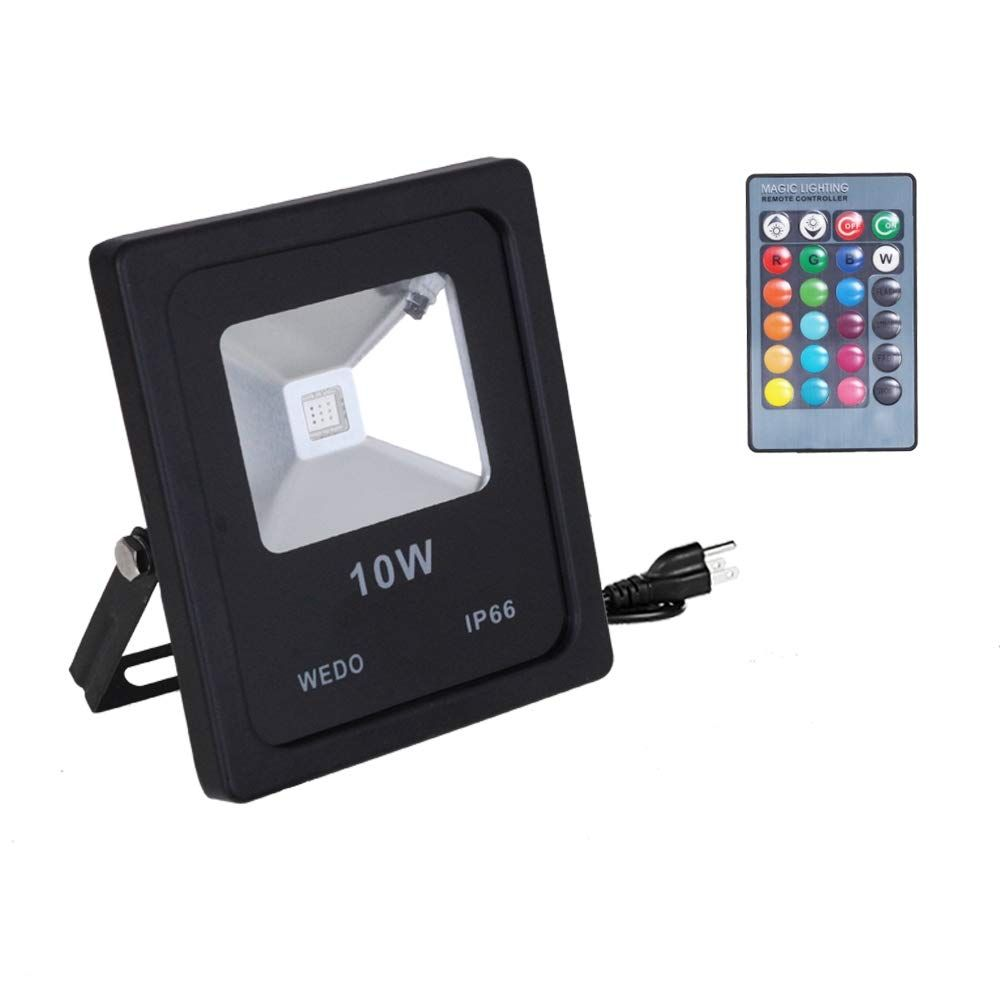 Wedo 10w Rgb Led Flood Light Ip66 Waterproof 16 Colors Change 4 Modes With Ir Remote Control Wall Wash Light Securit Security Lights Led Flood Lights Led Flood