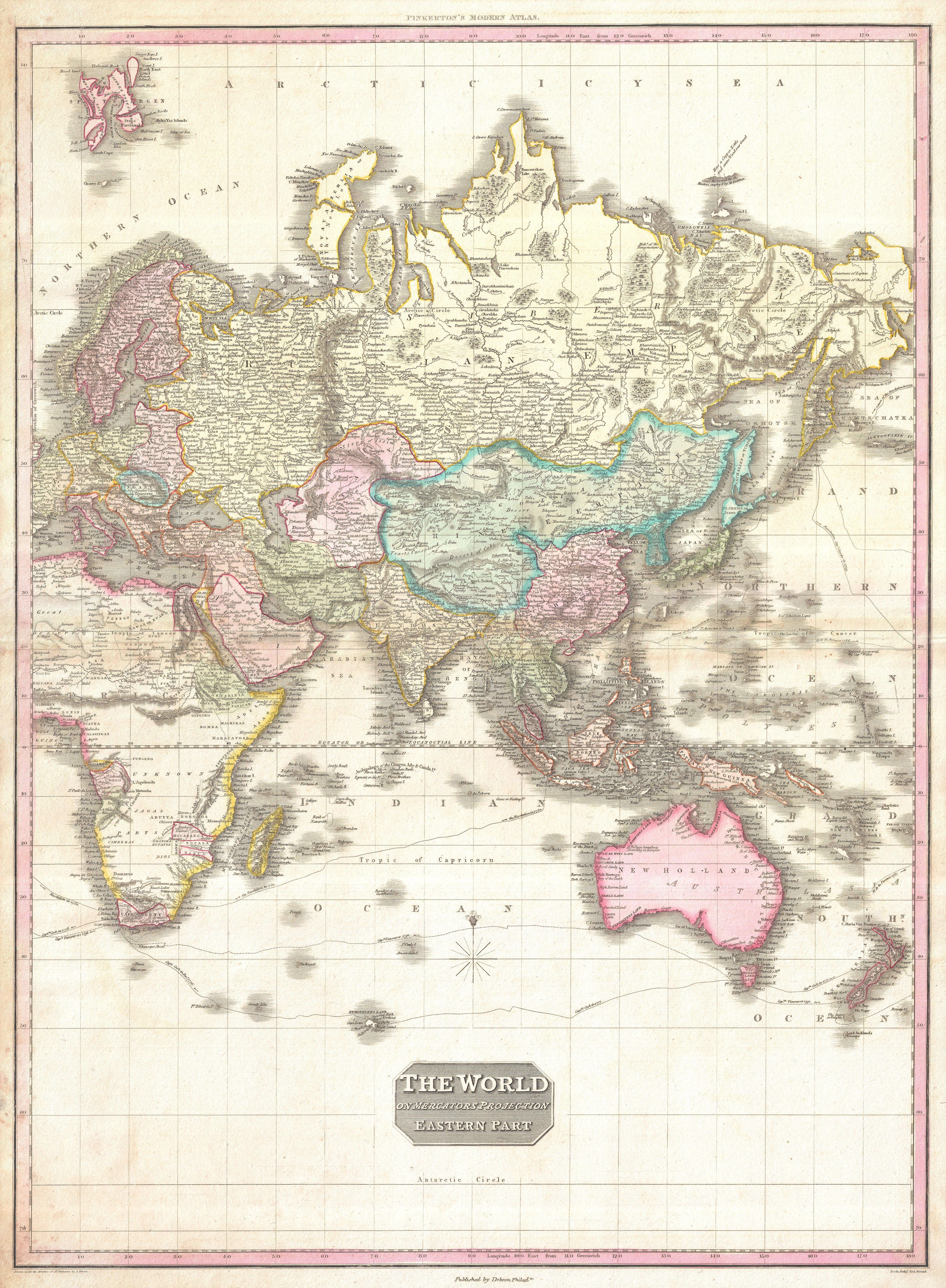 1818 Pinkerton Map of the Eastern Hemisphere (Asia , Africa , Europe ...