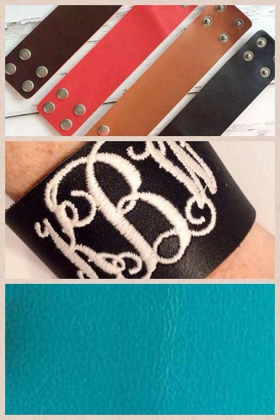 Monogrammed 2 inch leather bracelet cuff by agraceunlimited