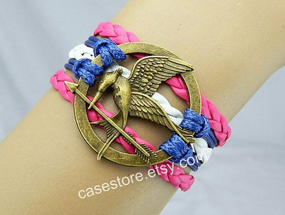 Mockingjay pin bracelethot pink and white by charmcover on Etsy, $7.99