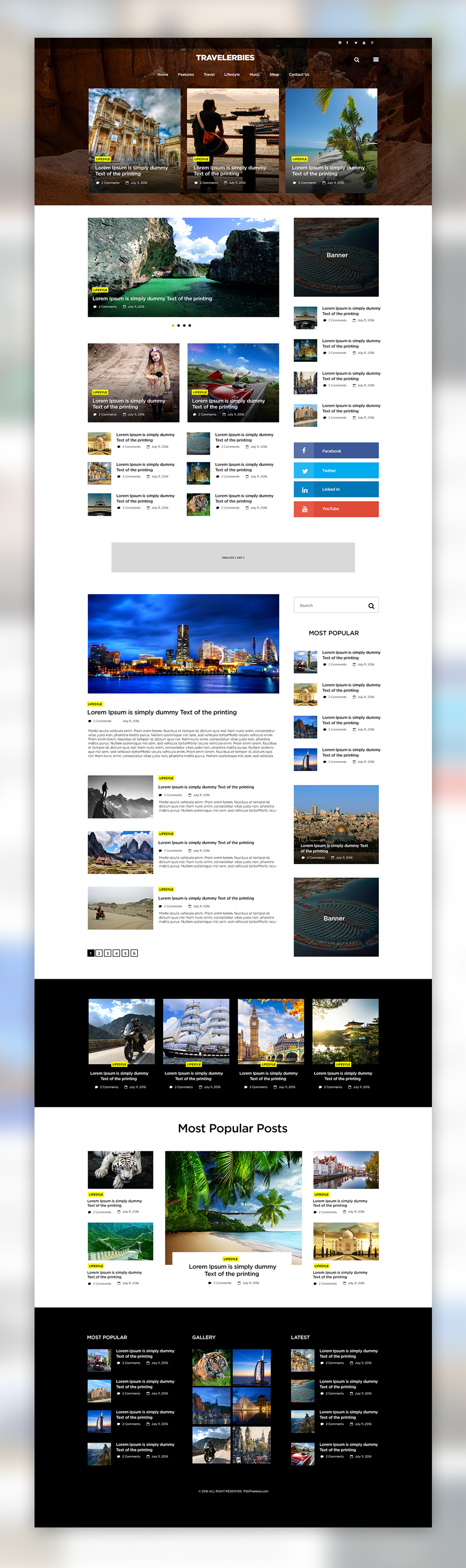 Travelerbies This Free Blog Template Is A Clean And Elegant Blog Theme Created For Those People That Want Psd Template Free Blog Templates Free Travel Blog