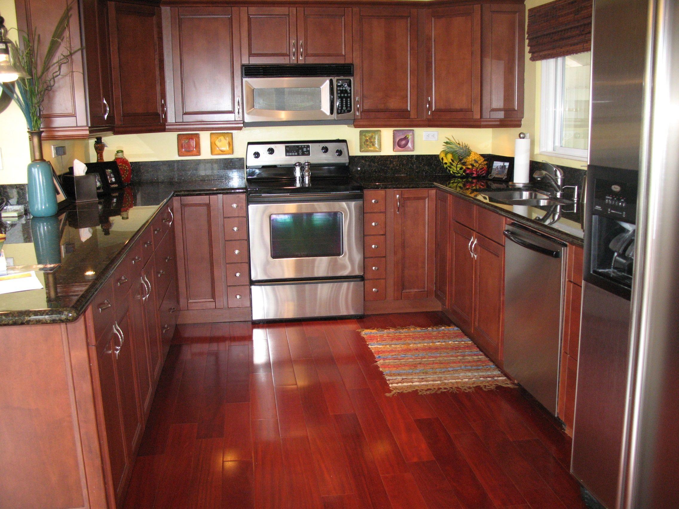 Basic kitchen cabinets  Kitchen Cherry Kitchen Cabinet With Black Granite Countertop In U