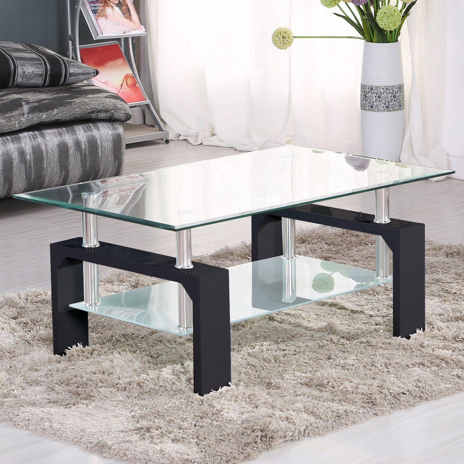 Uenjoy Rectangular Glass Coffee Table Shelf Chrome Black Wood Living Room Furniture Black Walma Coffee Table Small Space Coffee Table Coffee Table With Shelf [ 1600 x 1600 Pixel ]