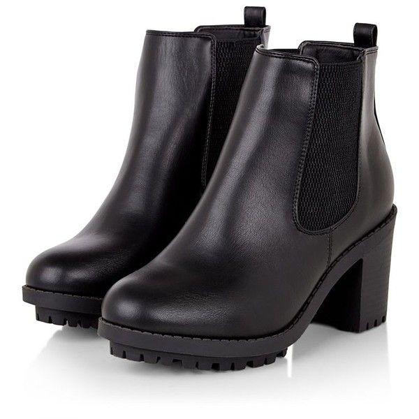 Wide Fit Black Cleated Chelsea Boots (49 CAD) ❤ liked on Polyvore featuring shoes, boots, ankle booties, ankle boots, black, botas, black ankle bootie, beatle boots, block heel ankle boots and black bootie
